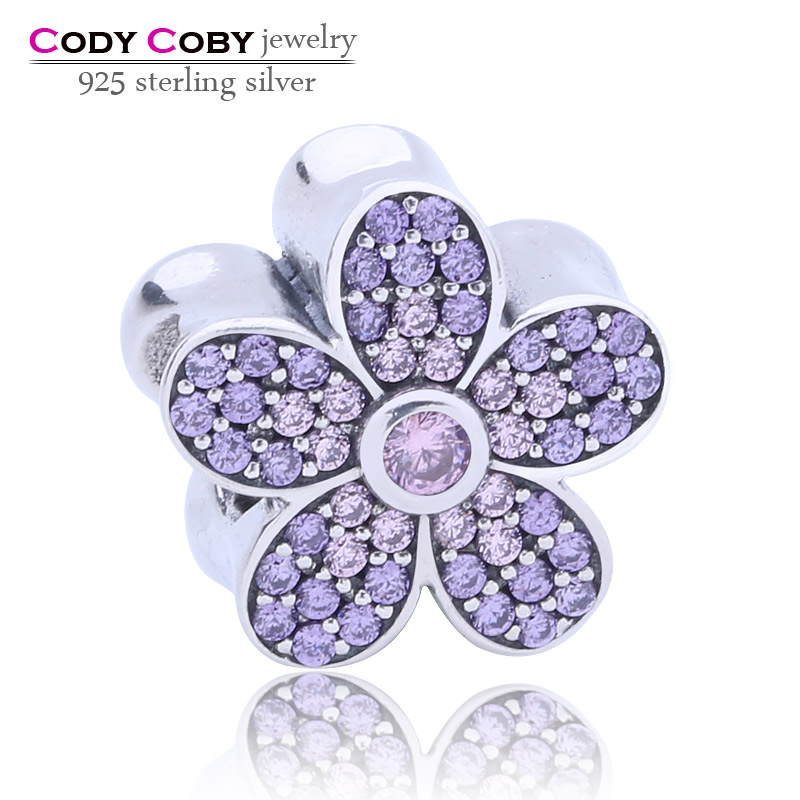 Sparkling Apple Blossom Beads Fit Pandora Charms Bracelets Original 925-Sterling-Silver CZ Flower Bead For Women Jewelry Making