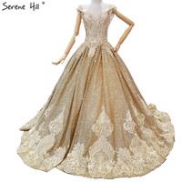 Gold V Neck Vintage Lace Train Wedding Dresses Newest Beading Sequined Luxury Sexy High end Wedding Gowns Real Photo