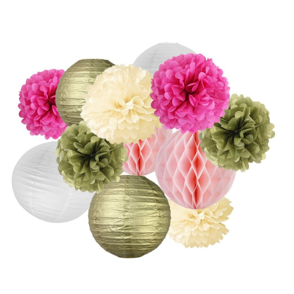 Gold&Pink Birthday Party Wedding Decoration Set 12pcs With Tissue Pom Poms Flower Paper Lanterns Honeycomb Balls Baby Shower
