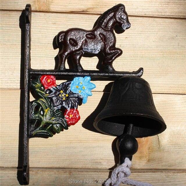 Welcome Wrought Iron Bell Green Bells Horse Antique Retro Dinner Home Garden Wall Door Decor