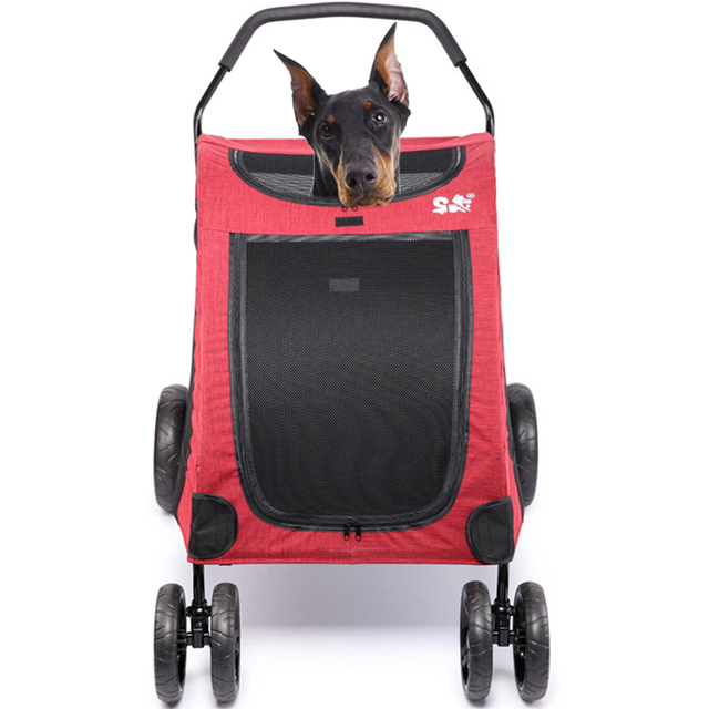 Large Dog Stroller Folding Dog Carrier Pet Travelling Carry Cart Dog  Walking Shopping Trolley Inner Seat 64*80*64cm Kennel Parm