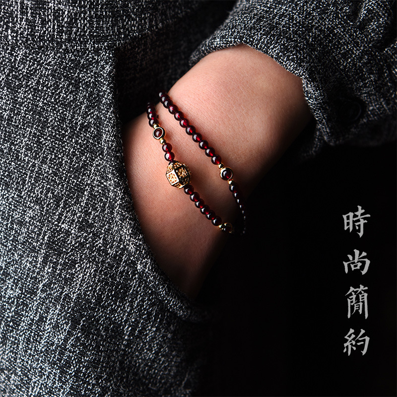 Image 2 - Fashion Handmade natural garnet bracelet women,Luxury vintage elastic bracelet, Ethnic red stone ethnic bracelet-in Strand Bracelets from Jewelry & Accessories