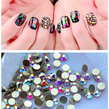2058NoHF SS8 1440pcs Crystal AB Flat Back Non Hotfix Rhinestones Nail Art Glue On