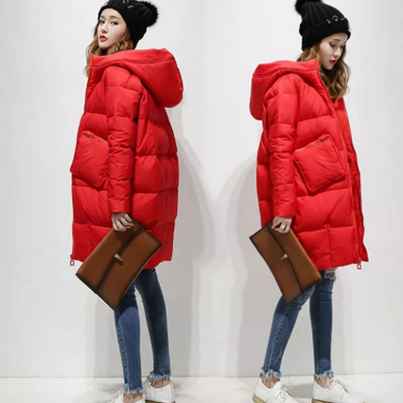2017 Cocoon White Duck Down Jacket Winter Jackets Women Parkas Loose Hooded Coats Long Warm Casual Outwear Lady Parka Spring casual 2016 winter jacket for boys warm jackets coats outerwears thick hooded down cotton jackets for children boy winter parkas