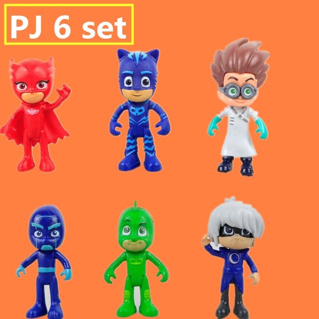 pjmasks figure 6pcs/set 8-9cm Pj Masks Characters Catboy Owlette Gekko Cloak Action Figure Toys Boy Birthday Gift Plastic Dolls