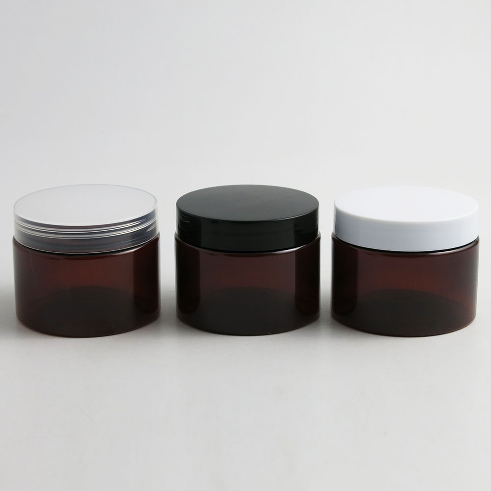 24 x 150g Empty Amber Cosmetic Cream Containers Cream Jars 150cc 150ml for Cosmetics Packaging Plastic
