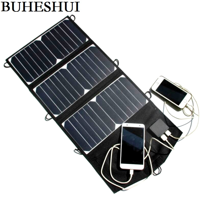 лучшая цена BUHESHUI 21W Folding Solar Panel Charger Portable Dual USB Output High Efficiency Sunpower Solar Panel for Cellphone 5V Device
