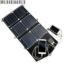 BUHESHUI 21W Folding Solar Panel Charger Portable Dual USB Output High Efficiency Sunpower Solar Panel for Cellphone 5V Device