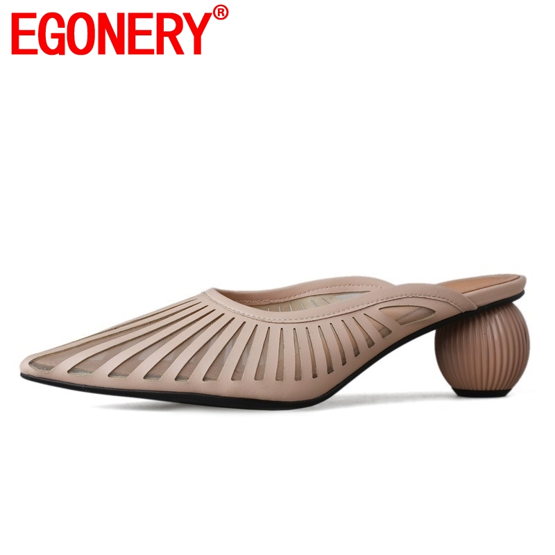 EGONERY <font><b>hot</b></font> <font><b>sale</b></font> shoes woman <font><b>summer</b></font> new fashion <font><b>sexy</b></font> pointed toe woman slippers outside med strage <font><b>style</b></font> ladies shoes size 33-40 image