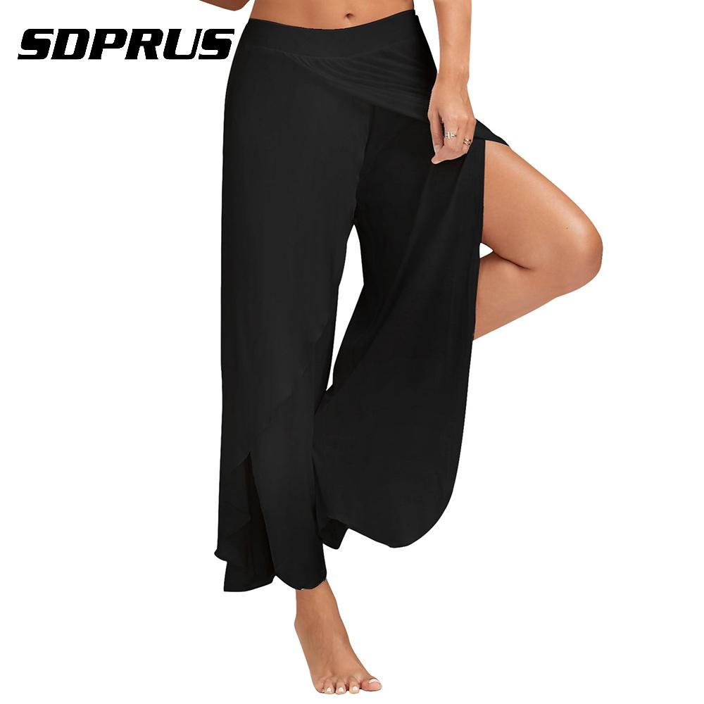2018 new fashion Women's High Waist Summer   Wide     Leg     Pants   Dance Casual Trousers Flares Skirt   Pants   dropshipping