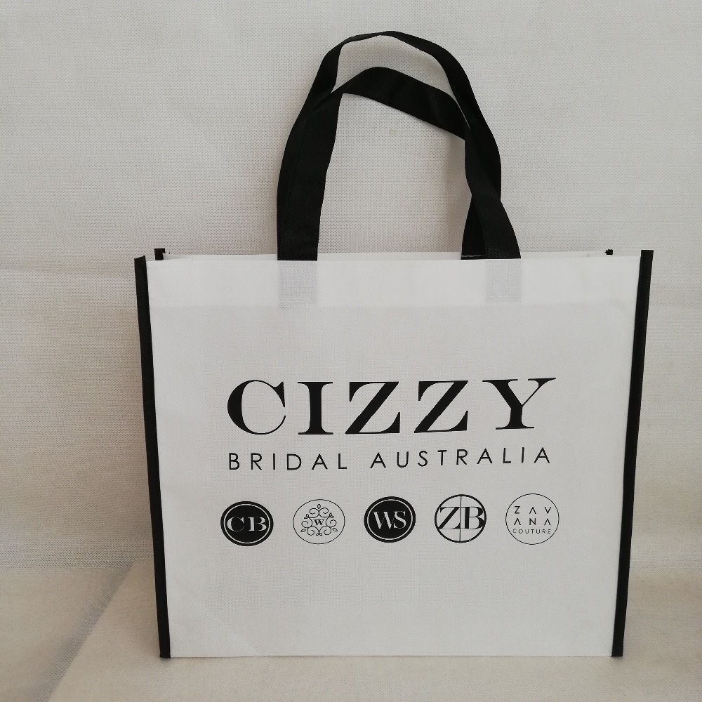 500pcs lot Reusable Non Woven Shopping Tote Bag Promotional Bag with Custom Logo Free Shipping Giveaway
