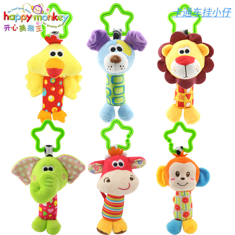 Baby Rattles Stroller Cart And Bed Pendant Toys Animal Hand Bells Plush Baby Boys Girls Toy Newborn Gift Baby Rattle Toys