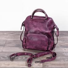 Real Rindleder-echtes Leder Rucksack frauen Tasche Vintage Designer Mädchen Reisen Schultaschen Berühmte Marke Weibliche Laptop Rucksack