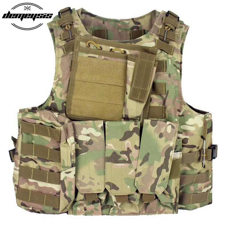 Military Tactical Vest CS Outdoor Equipment Airsoft Plate carrier Multicam Army Molle Mag Ammo Chest Paintball Vest airsoft adults cs field game skeleton warrior skull paintball mask