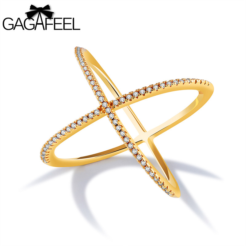 GAGAFEEL Cross X Shape Rings Womens Statement Rings Trendy Simple Finger Accessories Gold Color Copper Fine Jewelry For Lady