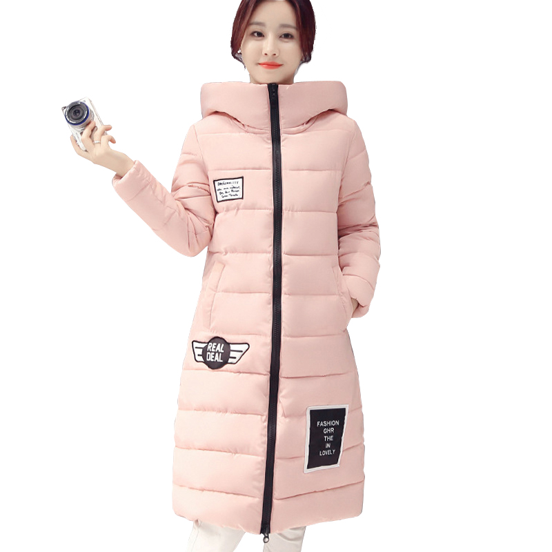 ФОТО 2017 new women winter jacket black solid warm cotton padded hooded feminino coat outerwear thick slim casual long parka casacos
