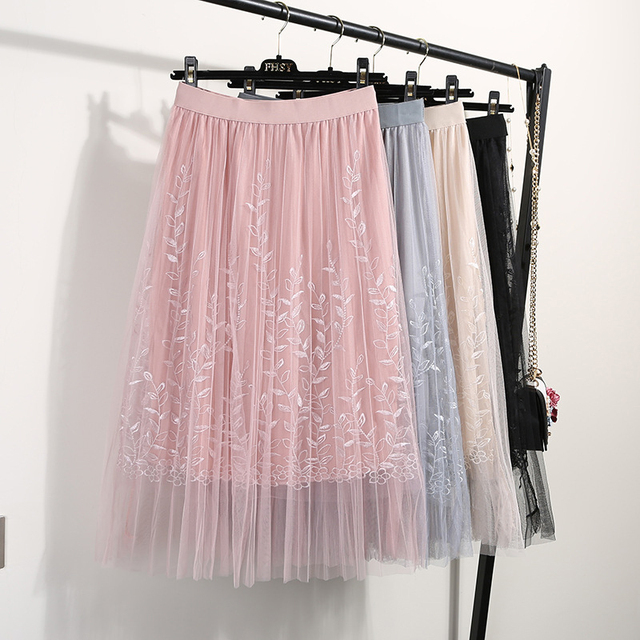 Women's Tulle Floral Decorated High Waist Midi Skirt