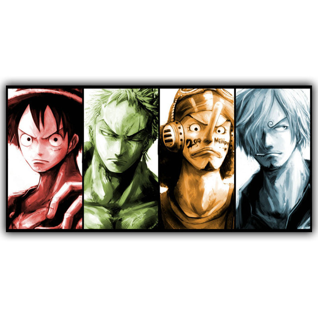 Japanese Anime One Piece Luffy Roronoa Zoro Usopp Sanji Poster Bedroom Decorative Arts Silk Wallpaper