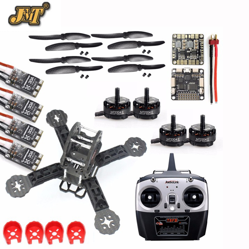 JMT DIY Toy 2.4G 8Ch RC Controller RC FPV Drone Mini Racer Quadcopter 190mm Carbon Fiber Racing Frame Kit with Radiolink T8FB TX 2018 newest transtec for lightning race 215mm 5mm 3k full carbon fiber frame kit blue sliver for rc racing racer drone toy diy