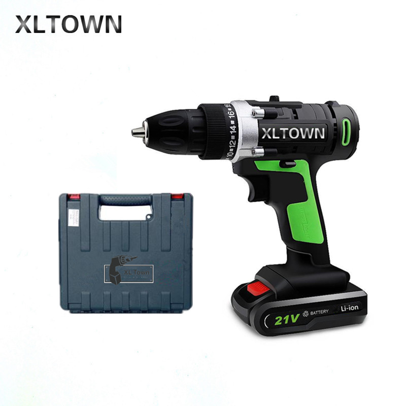 XLTOWN 21v Home Cordless Electric Drill with a box Multi-Motion lithium battery Rechargeable Electric Screwdriver Power tools xltown new 21v home cordless electric drill with 2 battery a box multi motion lithium battery rechargeable electric screwdriver