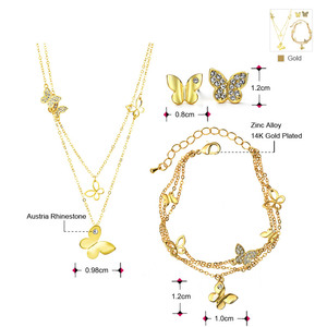 Image 2 - Neoglory Rhinestone Light Yellow Gold Color Wedding Butterfly Jewelry Sets for Women Bridal Birthday Gifts 2020 New JS6 G1