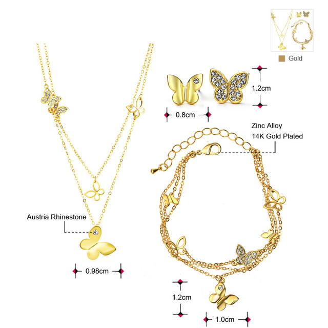 Neoglory Zinc Alloy Rhinestone Gold Plated Wedding Butterfly Jewelry Sets for Women Bridal Birthday Gifts 2017 New JS6 G1