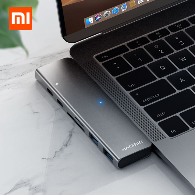 Xiaomi HAGIBIS USB Type-C Charging Adapter 7 in 1 TF /SD /PD /2 USD 3.0 /HUB HDMI Charging Converter Charger For Macbook Pro/air