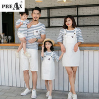 Summer 2018 Mother And Daughter Clothes Strap Dress Cotton Stripe Short Sleeve T Shirt Father Son