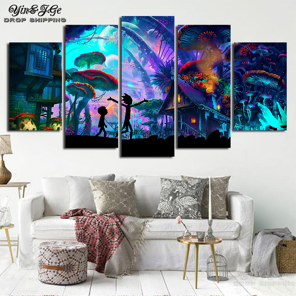 Rick And Morty Wall Poster And Prints 5 Pieces Animation Scenery Abstract Canvas Painting Frame Picture