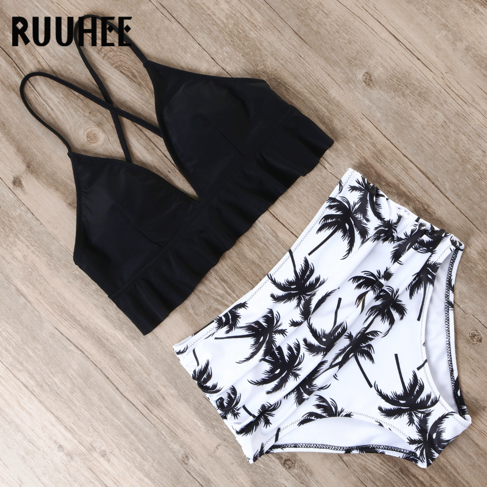 RUUHEE Bikini 2019 Swimsuit Women Swimwear Bikinis Set Push Up Bathing Suit Female Beach Wear High Waist Swimming Suit With Pad