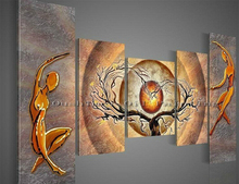 Handmade Abstract Lover Dancer Oil Painting Hang Paintings Modern Sun Tree Landscape Group Of Picture Home