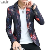 New Man Fashion Print Floral Notched Full Sleeve Casual Party Slim Blazer Male Spring Autumn Handsome Blazer Coat Outerwear 1209