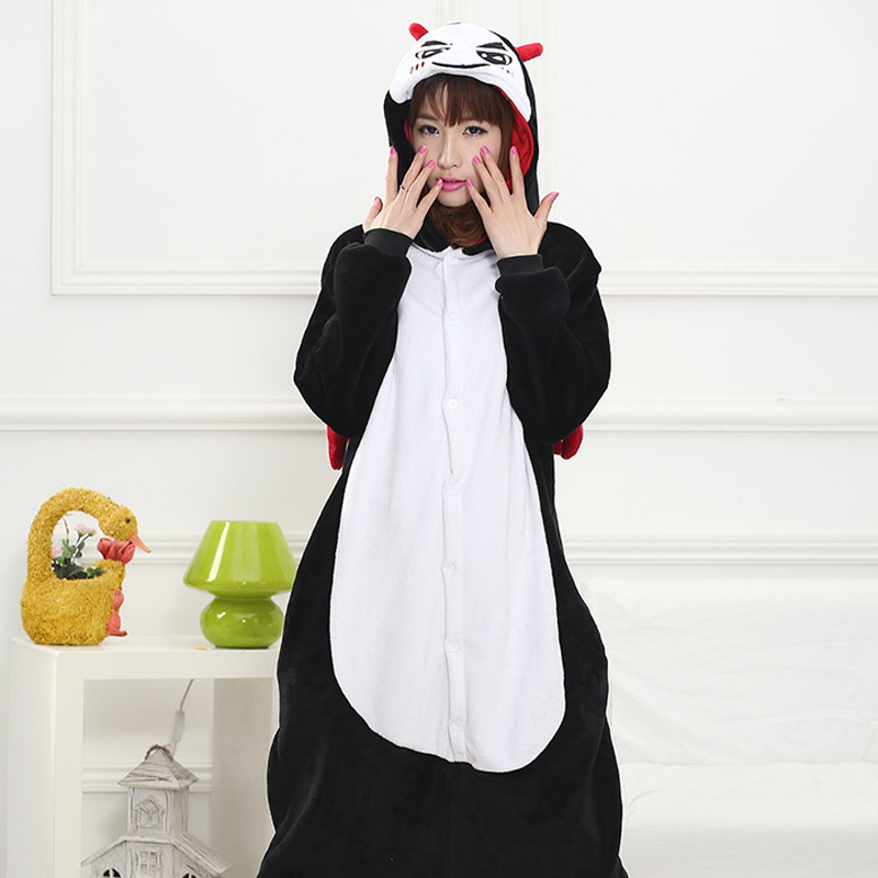 Funny Black Devil Kigurumi Soft Flannel One-Piece Pajamas Warm Demon Halloween Onesie For Adults Cosplay Party Costume Sleepwear (3)