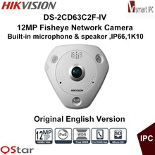 Hikvision Original English Version DS-2CD63C2F-IV 12MP Fisheye Camera 360 Degree View Angle 1K10 IP Camera CCTV Camera