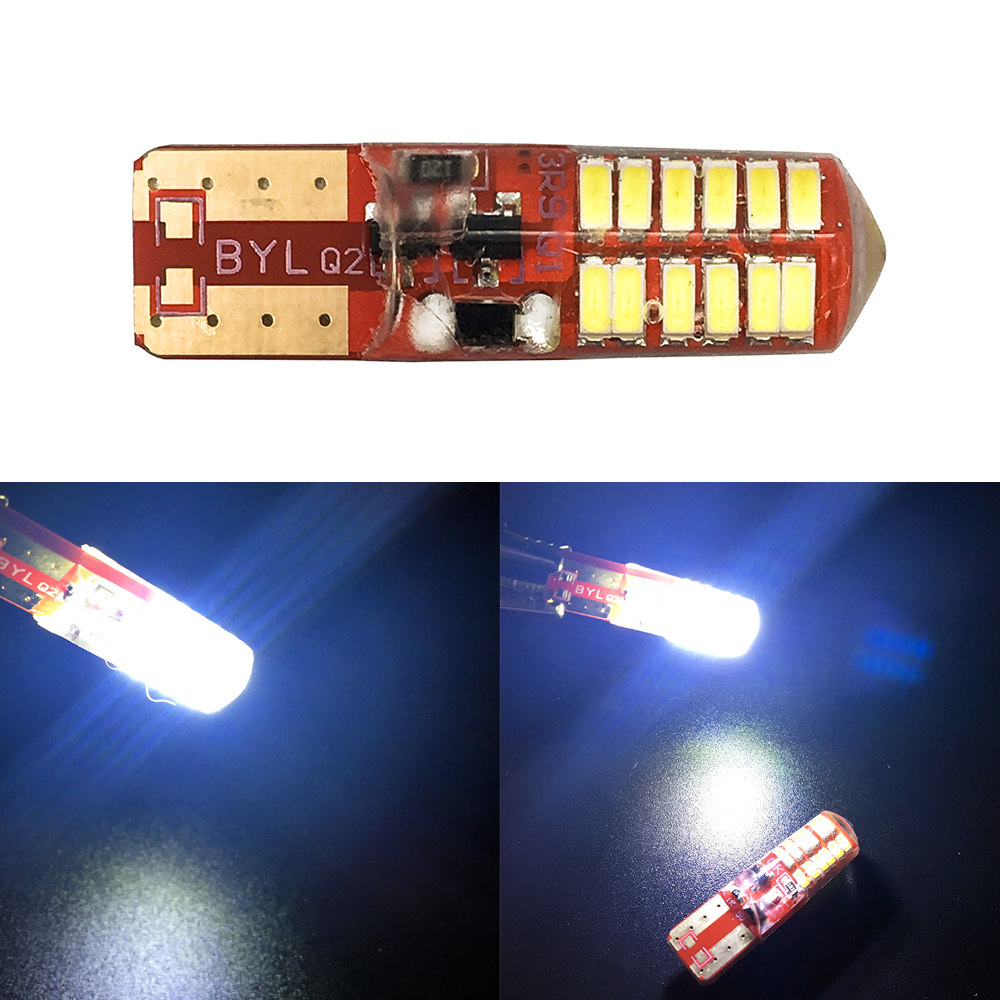 50X T10 PCB 194 168 W5W 3014 24 SMD 24 LED SILICA LED Light Bulb Super White Clearance Headlight Lights 12V Flash 2 Modes Lights in Signal Lamp from Automobiles Motorcycles