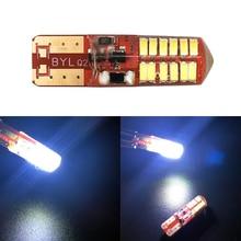 цена на 50X T10 PCB 194 168 W5W 3014 24 SMD 24 LED SILICA LED Light Bulb Super White Clearance Lights 12V Flash 2 Modes Lights