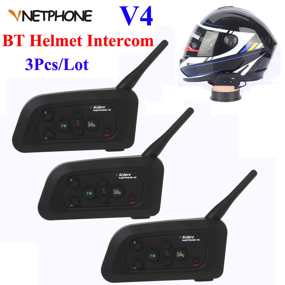 3Pcs 1200M V4 Motorcycle Bluetooth Helmet Headset Intercom 4 Riders Talk Full Duplex BT Interphone FM Helmet Intercom Headphones 2pcs 1set motorcycle helmet mount bluetooth motorcycle helmet intercom duplex real time interphone walkie talkie 6 riders 1200m