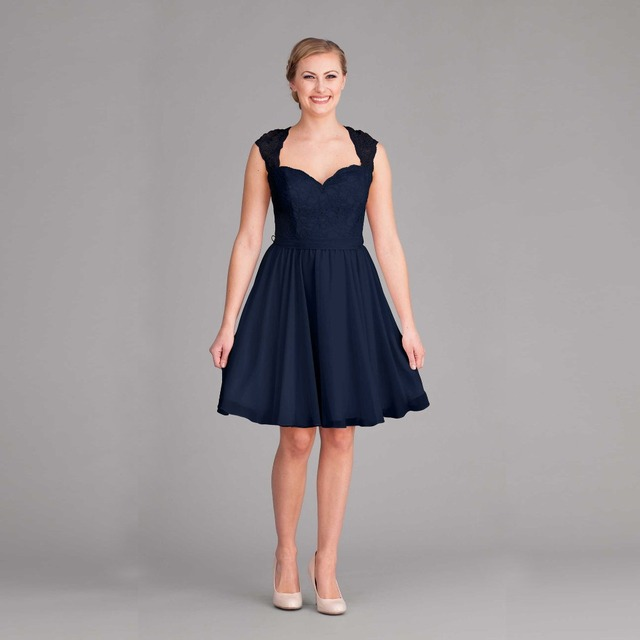 Navy Blue Knee Length Chiffon Bridesmaid Dresses Cap Sleeve Hole Back Short Lace Dress