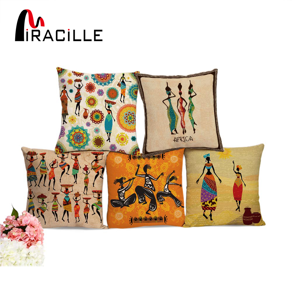 Miracille African Women Style Printed Cushion Cover Home Sofa Decorative Throw Pillowcase Bedroom Car Waist Back Pillow Cover