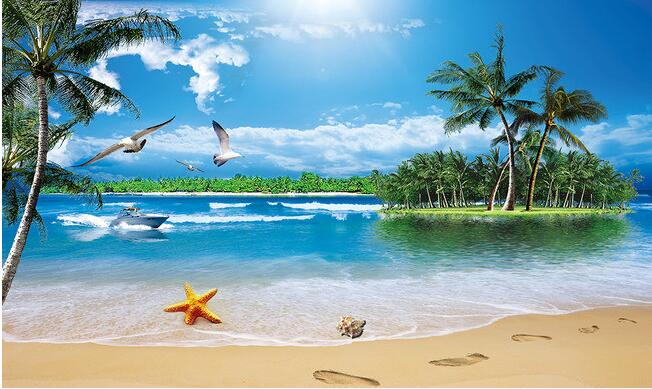Custom 3d Photo Wallpaper Hd Maldives Sea Beach Natural: 3d Wallpaper Custom Mural Non Woven The Sea Coconut Trees