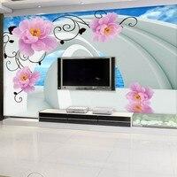 Beibehang 3D Fondo de Pantalla Personalizado cielo Azul nubes blancas Vista Al Mar Espacio Rosa Vid TV Fondo Del Paisaje de la pared decoración de papel en casa
