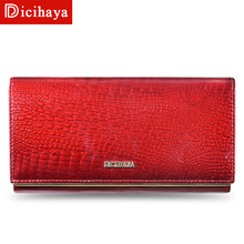 Genuine Leather Women Wallets Multifunction Purse With Card Holder Long Women Wallet Clutch Bag Ladies Patent Leather Wallets цена 2017