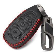 3 кнопки Кожаный Автомобильный Брелок дистанционного управления с ключом чехол Чехол для Ford Ranger C-Max S-Max Focus MK3 Galaxy Mondeo Transit Tourneo на заказ