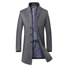 Новый Бренд Зимний Мужской Шерсть Траншеи Куртка Бизнес Длинный Плащ мужчины Европейский Стиль Мужские Homme Шинель Ветровка Одежда