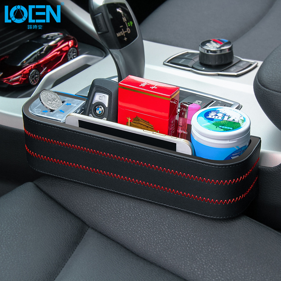 LOEN 1PC Black PU Leather+ABS Car Armrest Storage Organizer Between Front Seats Car Seat Gap Filler for Stuff Cellphone Coin
