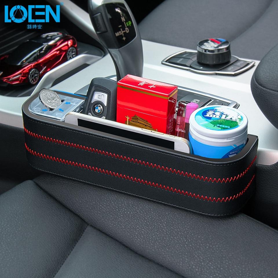 LOEN 1PC Black PU Leather+ABS Car Armrest Storage Organizer Between Front Seats Car Seat Gap Filler for Stuff Cellphone Coin