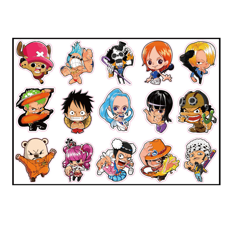 15pcs One Piece Monkey D Luffy Bepo Fixed Gear/Luggage/Guitar/Motor/Cars/Refrigerator ONEPIECE Stickers 6cm