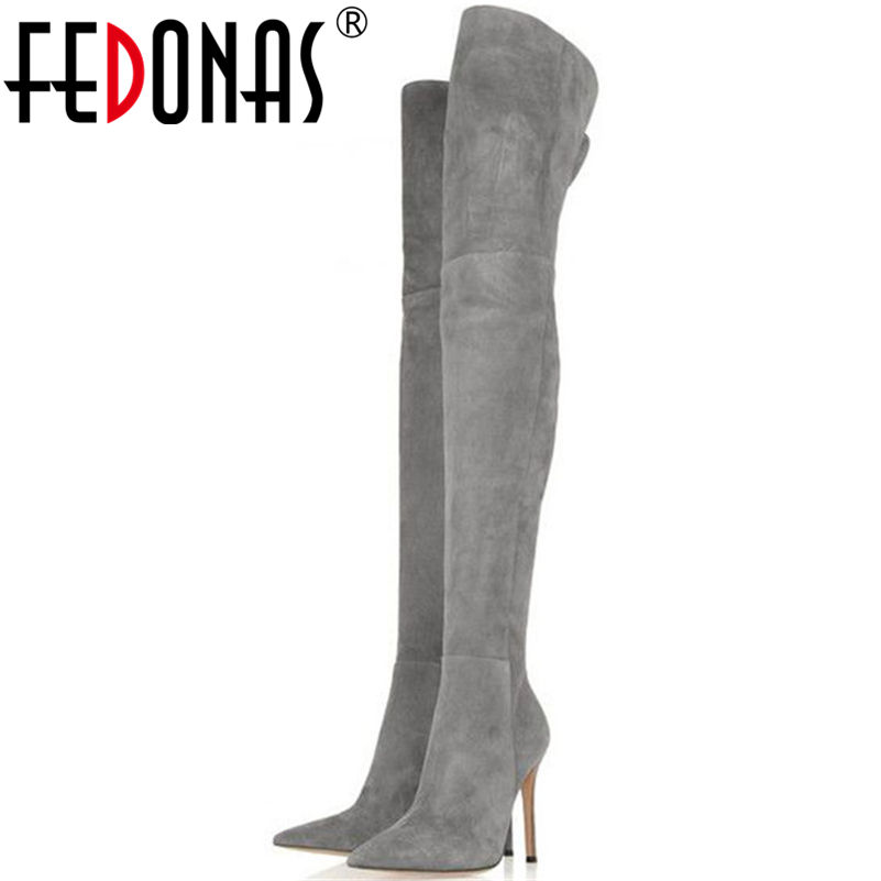 FEDONAS Top Fashion Women Winter Over Knee Long Boots Women Sper Thin High Heels Autumn Comfort Stretch Height Boots Shoes Woman top selling 2017 winter new stretch