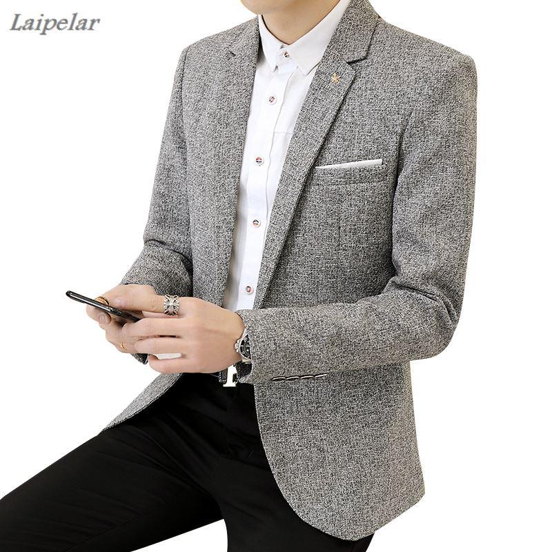 2018 Spring New Men's Casual Business Linen Suit Jacket / Men's One button Blazers coat Laipelar