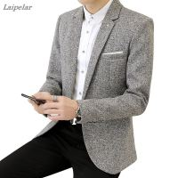 2018 Spring New Men's Casual Business Linen Suit Jacket / Men's One button Blazers coat Laipelar